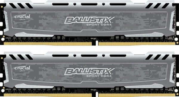 8GB DDR4-2400 CL16 Crucial Ballistix Sport LT DIMM Kit (grau)