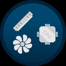 Service Prozessor + Arbeitsspeicher + Kühlerinstallation