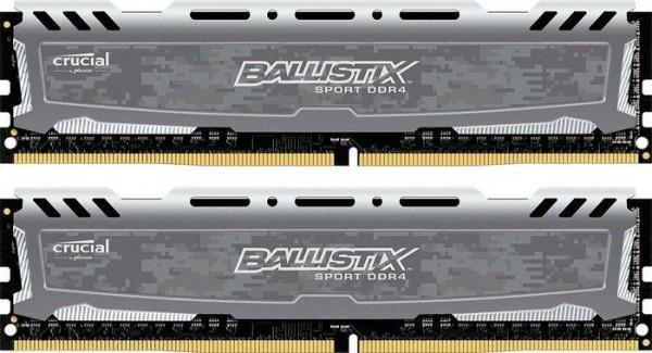 16GB DDR4-2400 CL16 Crucial Ballistix Sport LT DIMM Kit (grau)
